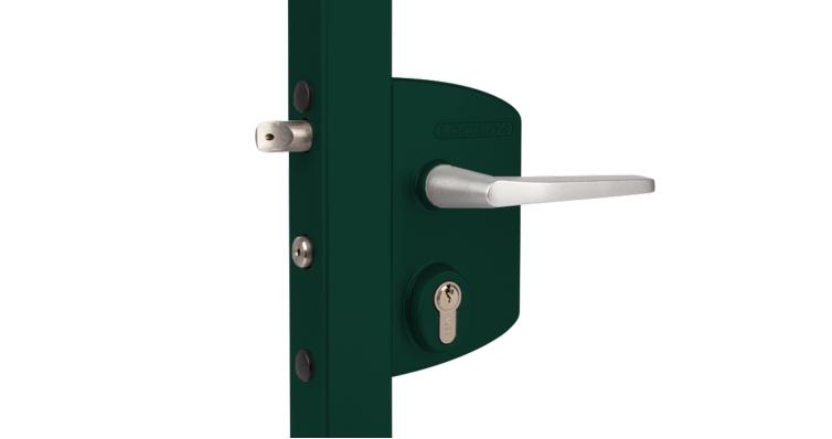Замок LAKQ 4040 U2L корпус металлический, с ручками из алюминия, зеленый RAL 6005