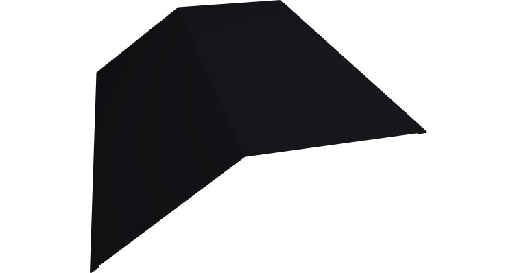 Планка конька плоского 145х145 0,5 Quarzit lite с пленкой RAL 9005