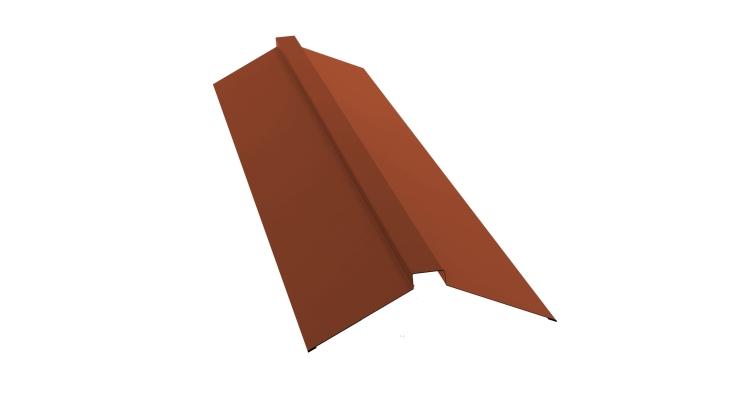 Планка конька плоского 150х40х150 0,5 Satin с пленкой RAL 8004