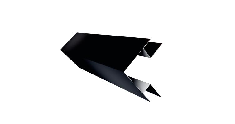 Планка угла внешнего сложного Экобрус GL 0,5 Quarzit lite с пленкой RAL 9005