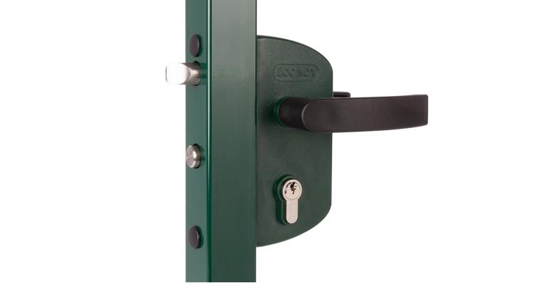 Замок LAKZ 4040 P1L корпус полиамидный с полиамидными ручками зеленый RAL 6005