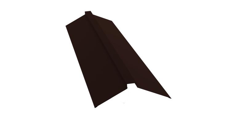Планка конька плоского 150х40х150 0,5 Satin с пленкой RAL 8017
