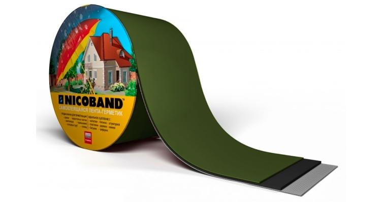 NICOBAND самоклеящаяся герметизирующая лента зеленая 10м*10см