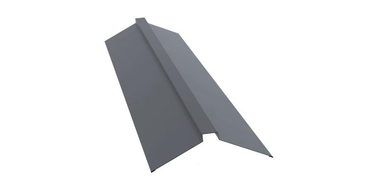 Планка конька плоского 150х40х150 0,5 Satin с пленкой RAL 9006