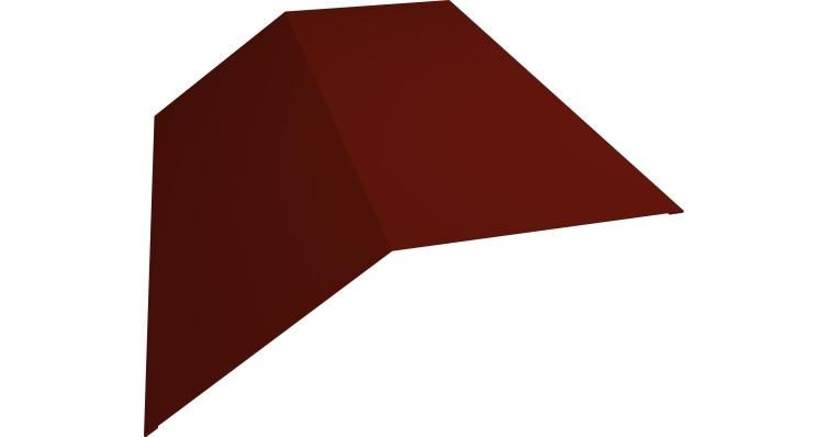 Планка конька плоского 145х145 0,5 Satin с пленкой RAL 3009 оксидно-красный