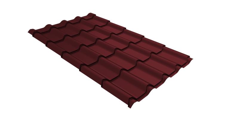 Металлочерепица камея 0,5 Satin RAL 3005 красное вино