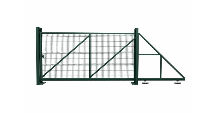 Ворота откатные Profi RAL 6005 вправо