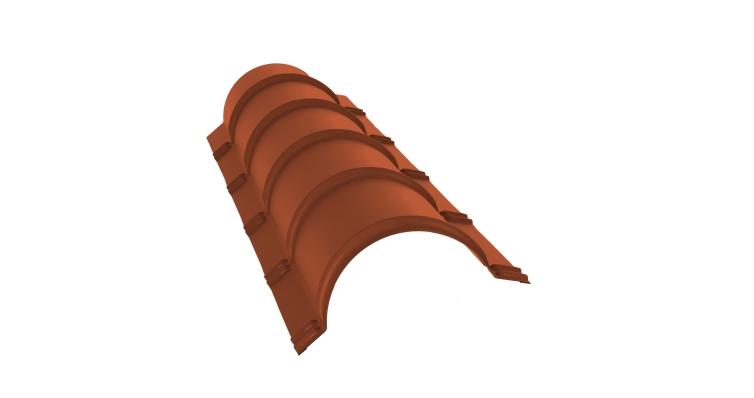 Планка малого конька полукруглого 0,5 Satin с пленкой RAL 8004
