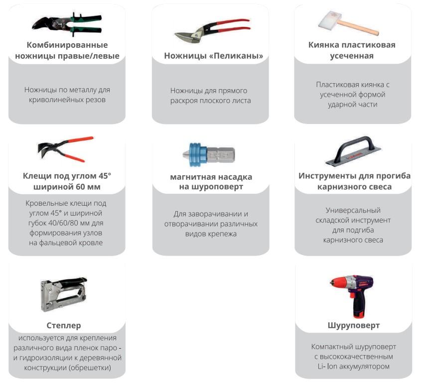 инструменты для крепления панелей кликфальц